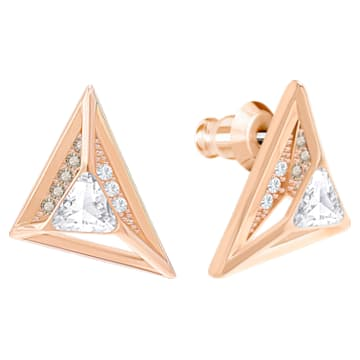 Hillock Triangle Pierced Earrings, White, Rose gold plating - Swarovski, 5351079