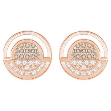 Hillock Round Pierced Earrings, White, Rose gold plating - Swarovski, 5351081