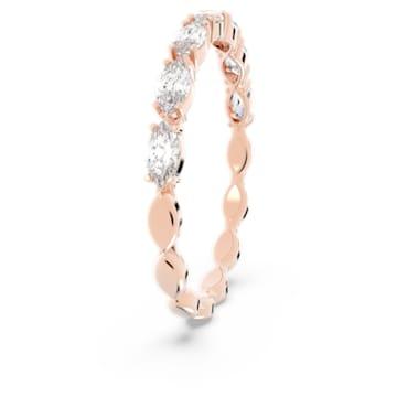 Prsten Vittore s kameny ve tvaru zašpičatělého oválu, bílý, pozlacený růžovým zlatem - Swarovski, 5351769