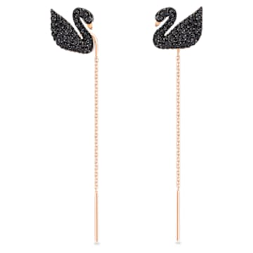 Swarovski Iconic Swan 이어링, 스완, 블랙, 로즈골드 톤 플래팅 - Swarovski, 5351805