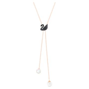 Swarovski Iconic Swan Y形項鏈, 黑色, 鍍玫瑰金色調 - Swarovski, 5351806