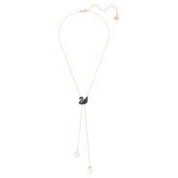 Colar em Y Swarovski Iconic Swan, preto, banhado com tom rosa dourado - Swarovski, 5351806