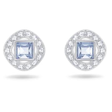 Angelic Square 穿孔耳环, 蓝色, 镀铑 - Swarovski, 5352048