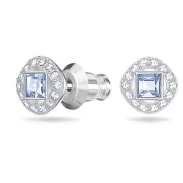 Angelic 耳钉, 正方形切割, 蓝色, 镀铑 - Swarovski, 5352048