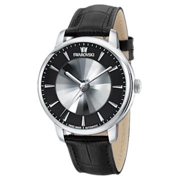 Atlantis-Limited Edition automatisch herenhorloge, Leren horlogebandje, Zwart, Roestvrij staal - Swarovski, 5364209