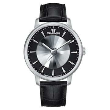Atlantis限定版男士自动机械腕表, 真皮表带, 黑色, 不锈钢 - Swarovski, 5364209