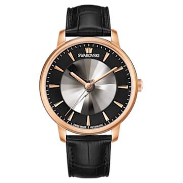 Montre Automatique pour Hommes Atlantis Edition Limitée, Bracelet en cuir, noir, PVD doré rose - Swarovski, 5364212
