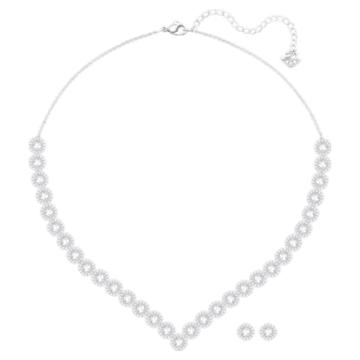 Angelic Square 套装, 白色, 镀铑 - Swarovski, 5364318