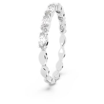 Prsten Vittore s kameny ve tvaru zašpičatělého oválu, bílý, rhodiovaný - Swarovski, 5366577