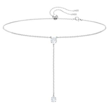 Attract Y Necklace, White, Rhodium plated - Swarovski, 5367969