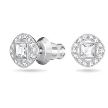 Angelic Square 穿孔耳环, 白色, 镀铑 - Swarovski, 5368146
