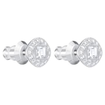 Cercei pătrați cu șurub Angelic, albi, placați cu rodiu - Swarovski, 5368146