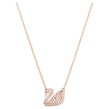 Přívěsek Iconic Swan, Bílý, Pozlacený růžovým zlatem - Swarovski, 5368988