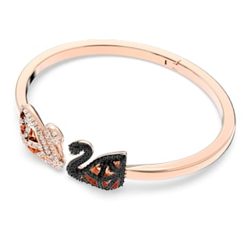 Facet Swan Bangle, Multi-colored, Mixed metal finish - Swarovski, 5372918