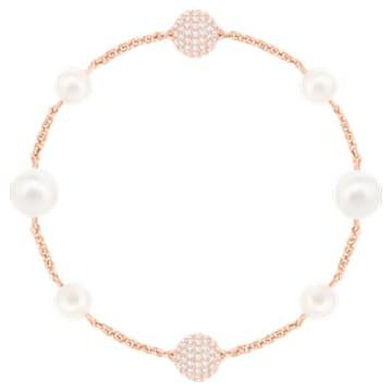 Fio para pulseira Swarovski Remix Collection Round Pearl, branco, banhado a rosa dourado - Swarovski, 5373260