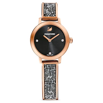 Cosmic Rock Uhr, Metallarmband, Schwarz, Roségoldfarbenes PVD-Finish - Swarovski, 5376068