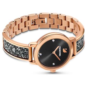 Cosmic Rock Uhr, Metallarmband, schwarz, Rosé vergoldetes PVD-Finish - Swarovski, 5376068