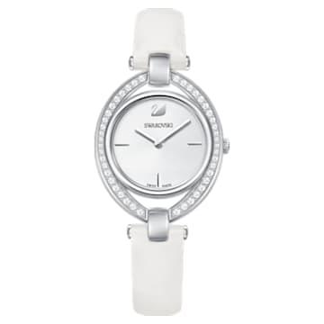 Stella-horloge, Leren horlogebandje, Wit, Roestvrij staal - Swarovski, 5376812