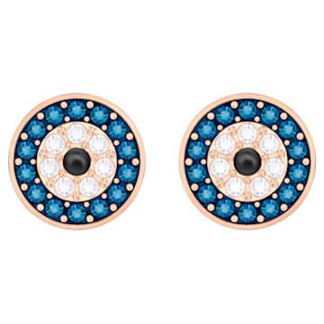 Luckily-boze oog steekoorbellen, Meerkleurig, Roségoudkleurige toplaag - Swarovski, 5377720
