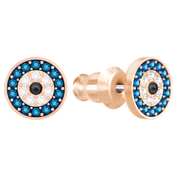 Cercei cu șurub Luckily Evil Eye, albaștri, placați în nuanță aur roz - Swarovski, 5377720