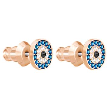 Pendientes Luckily Evil Eye, azul, baño en tono oro rosa - Swarovski, 5377720