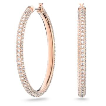 Cercei rotunzi cu șurub Stone, roz, placați în nuanță aur roz - Swarovski, 5383938