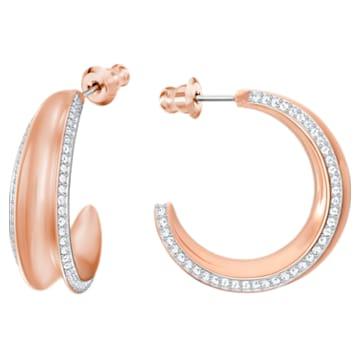 Lakeside Hoop Pierced Earrings, White, Rose-gold tone plated - Swarovski, 5387646