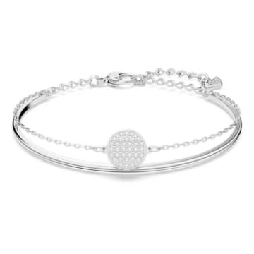 Ginger Жёсткий браслет, Белый Кристалл, Родиевое покрытие - Swarovski, 5389044