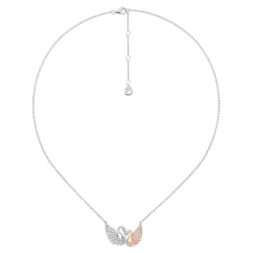 18K WG/ RG Double Swans Necklace (S) - Swarovski, 5401117