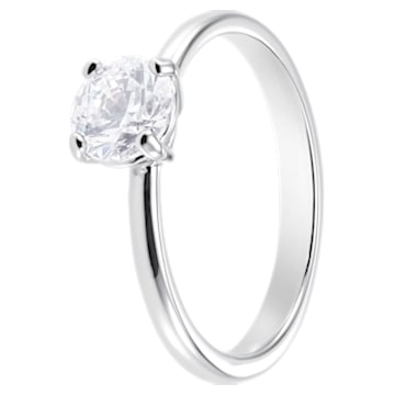 Attract Ring, White, Rhodium plated - Swarovski, 5402429
