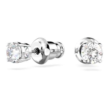 Τρυπητά σκουλαρίκια Attract Round, λευκά, επιροδιωμένα - Swarovski, 5408436