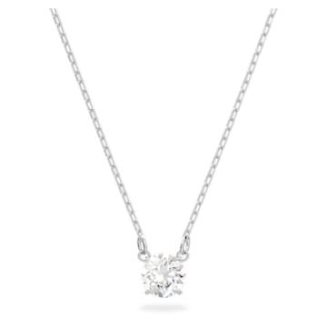 Attract necklace, Round, White, Rhodium plated - Swarovski, 5408442