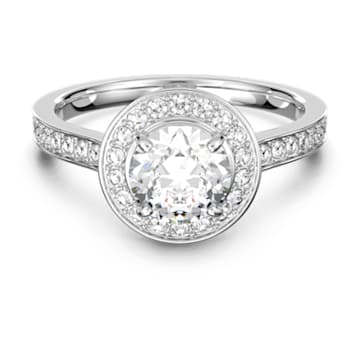 Attract Round Ring, weiss, Rhodiniert - Swarovski, 5409189