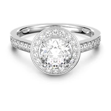 Prsten Attract Round, Bílý, Rhodiem pokovený - Swarovski, 5412053