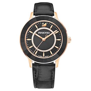 Montre Octea Lux, Bracelet en cuir, noir, PVD doré rose - Swarovski, 5414410