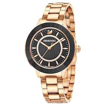 Ρολόι Octea Lux, μεταλλικό μπρασελέ, μαύρο, PVD σε χρυσή ροζ απόχρωση - Swarovski, 5414419