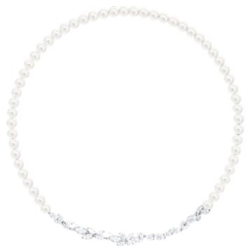 Louison Pearl Necklace, White, Rhodium plated - Swarovski, 5414693