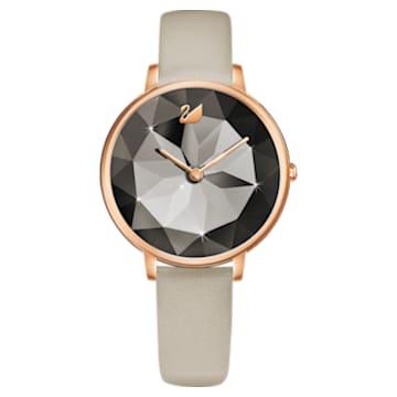 Crystal Lake Uhr, Lederarmband, grau, Rosé vergoldetes PVD-Finish - Swarovski, 5415996