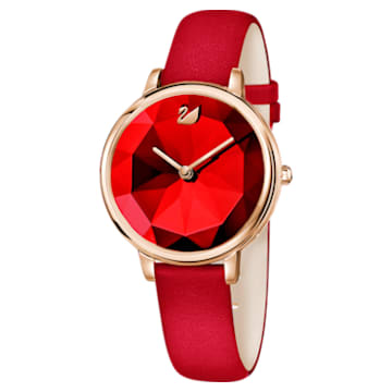 Crystal Lake Watch, Leather strap, Red, Rose-gold tone PVD - Swarovski, 5415999