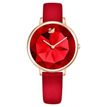 Zegarek Crystal Lake, pasek ze skóry, czerwony, powłoka PVD w odcieniu różowego złota - Swarovski, 5415999