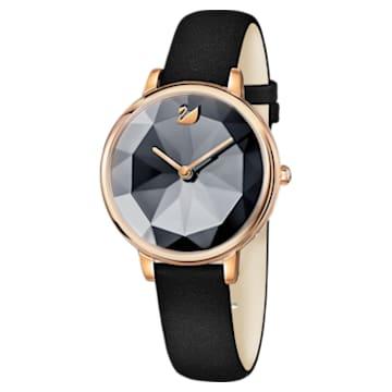 Crystal Lake-horloge, Leren horlogebandje, Zwart, Roségoudkleurig PVD - Swarovski, 5416009