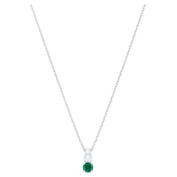 Attract Trilogy Round 链坠, 绿色, 镀铑 - Swarovski, 5416153