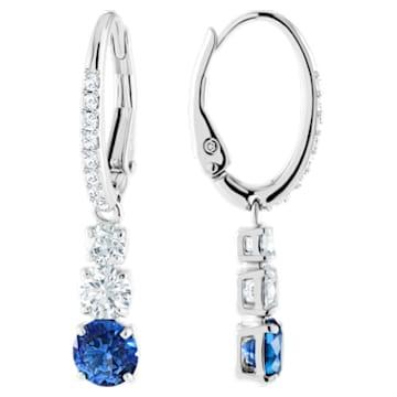 Brincos para orelhas furadas Attract Trilogy Round, azuis, banhados a ródio - Swarovski, 5416154