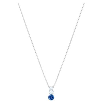 Attract Trilogy Round 链坠, 蓝色, 镀铑 - Swarovski, 5416156