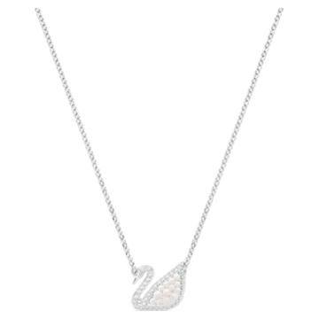 Collier Swarovski Iconic Swan, blanc, Métal rhodié