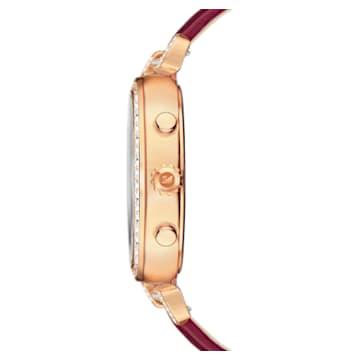 Hodinky Era Journey s koženým páskem, tmavě červené, PVD v odstínu růžového zlata - Swarovski, 5416701