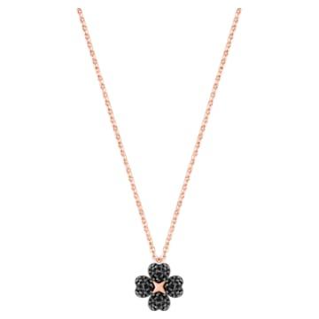 Pendentif Latisha Flower, noir, Métal doré rose - Swarovski, 5420246