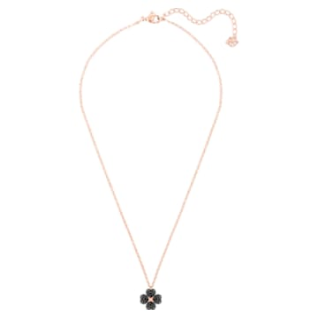Latisha Flower Pendant, Black, Rose-gold tone plated - Swarovski, 5420246