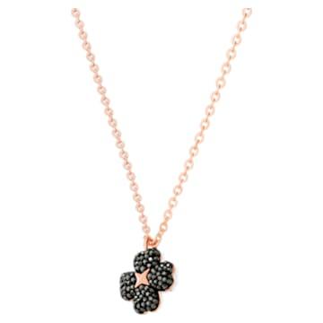 Pendente Latisha Flower, preto, banhado com tom rosa dourado - Swarovski, 5420246