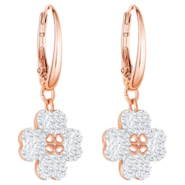 Latisha 穿孔耳环, 白色, 镀玫瑰金色调 - Swarovski, 5420249